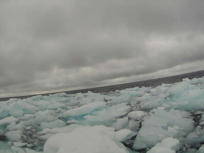 An Arctic ice field as captured by a saildrone onboard camera.